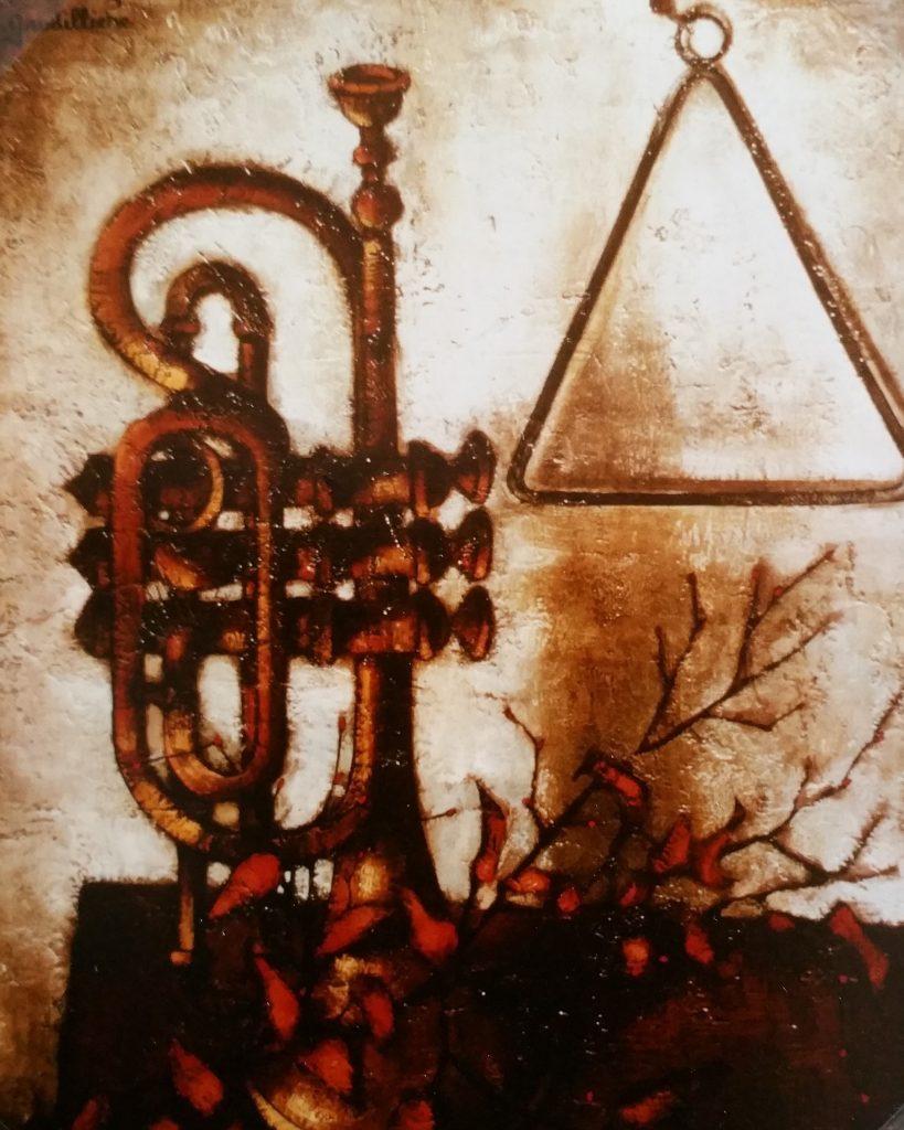1961-8 la trompette ou nature morte à la trompette 15F 0,65-0,54 isorel