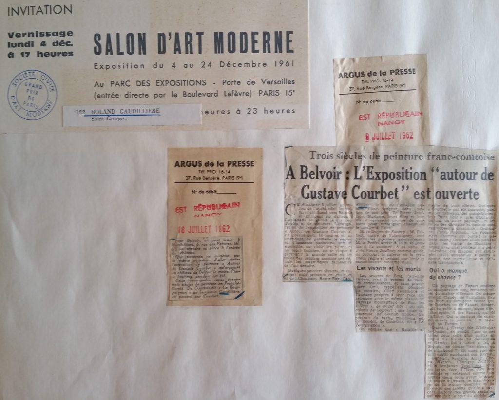 21-1961 expo groupée Salon d'art moderne Paris,1962 expo groupée Chateau de Belvoir,Doubs