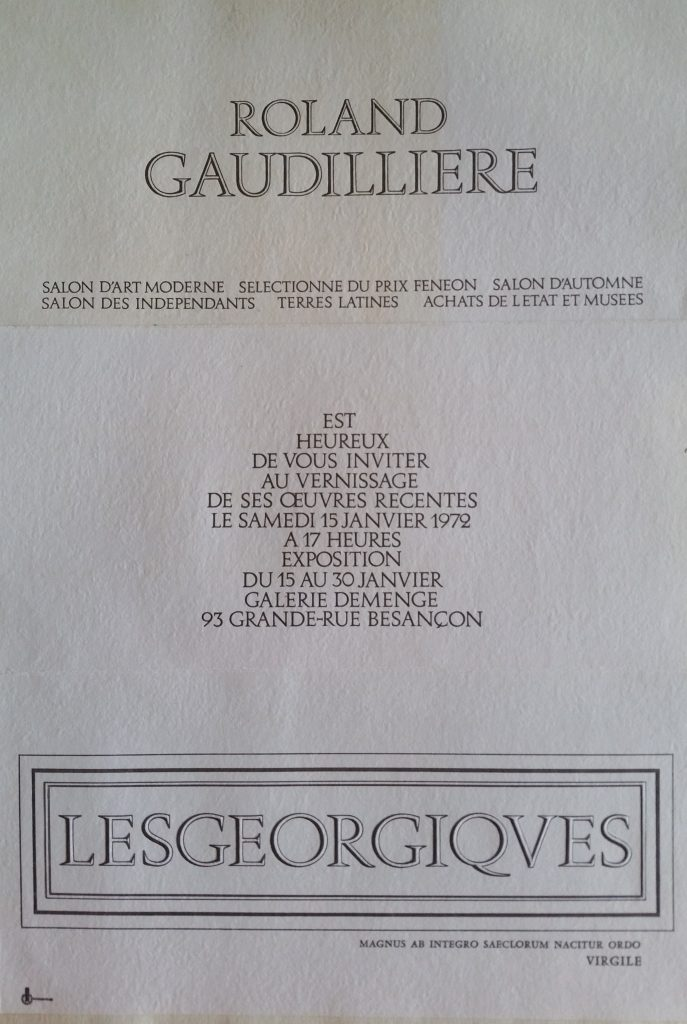 69-1972 carton d'invitation expo gal.Demenge