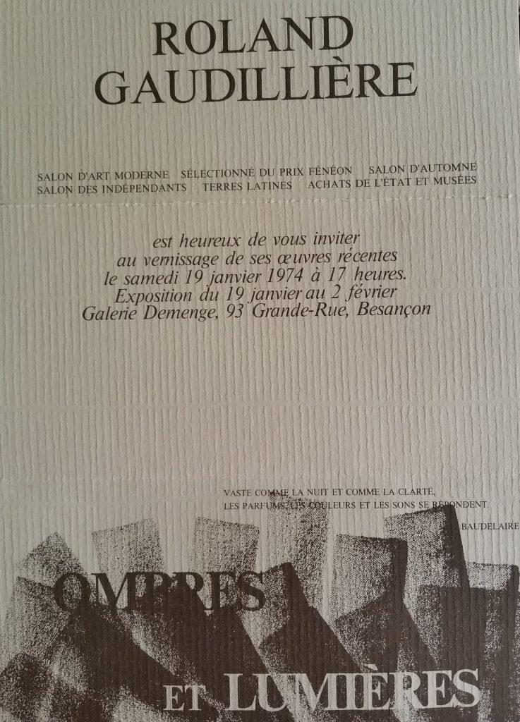 71-1974 carton d'invitation expo gal. Demenge
