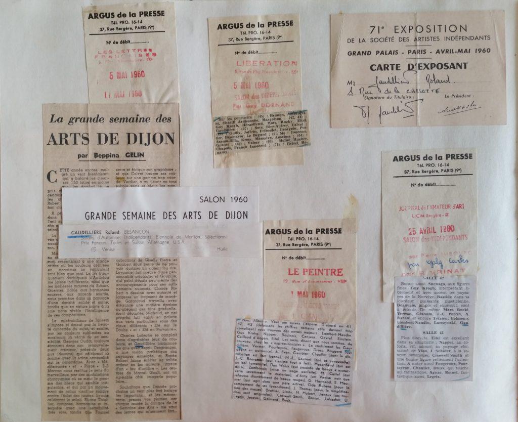 8-1960 expo groupée Grande semaine des arts de Dijon,et Salon des artistes indépendants au grand Palais Paris