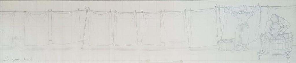 1991 la grande lessive HF5 0,18-0,73 dessin sur calque