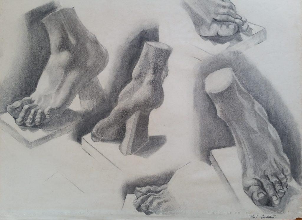 1951 étude de pieds 0,65-0,50 étude dessin fusain école des Beaux Arts Besançon
