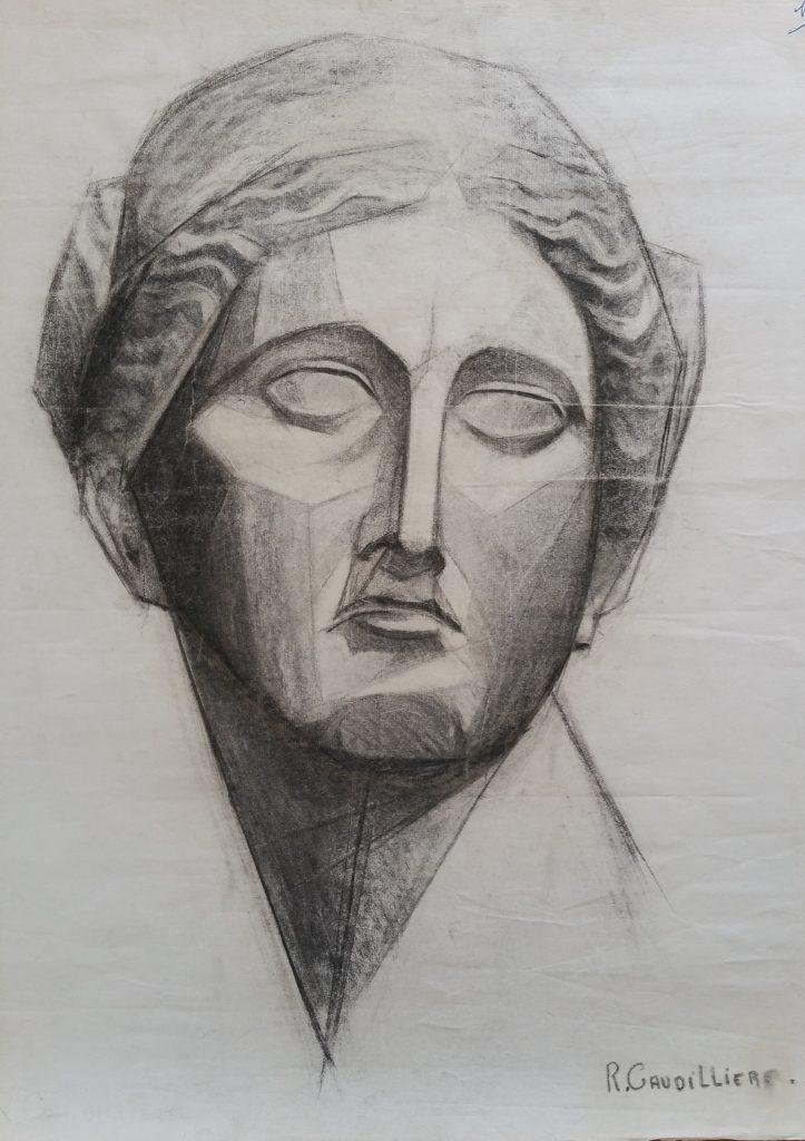 1952 portrait femme 0,64-0,48 étude dessin,Arts Décoratifs Paris