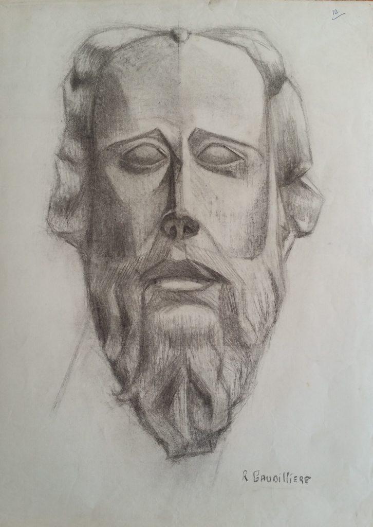 1952 visage d'homme n°12 0,48-0,64 étude dessin, Arts Décoratifs Paris