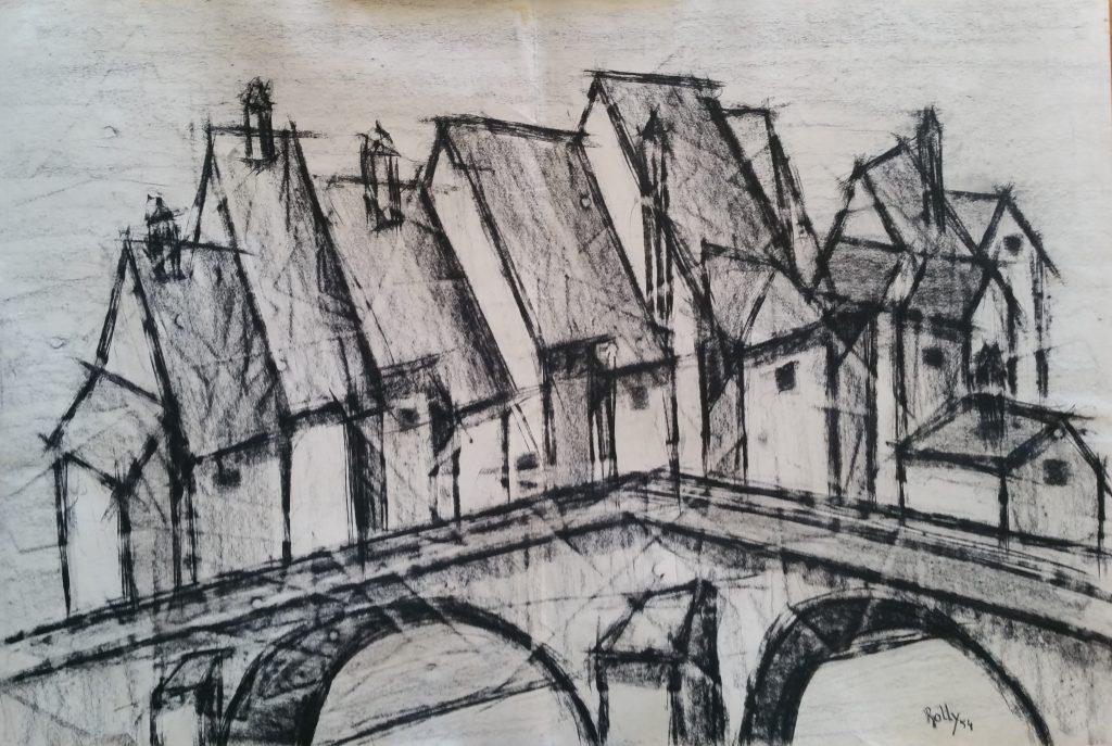 1954-le-vieux-pont-075-105-dessin-fusain-ecole-des-beaux-arts-parissigne-rolly