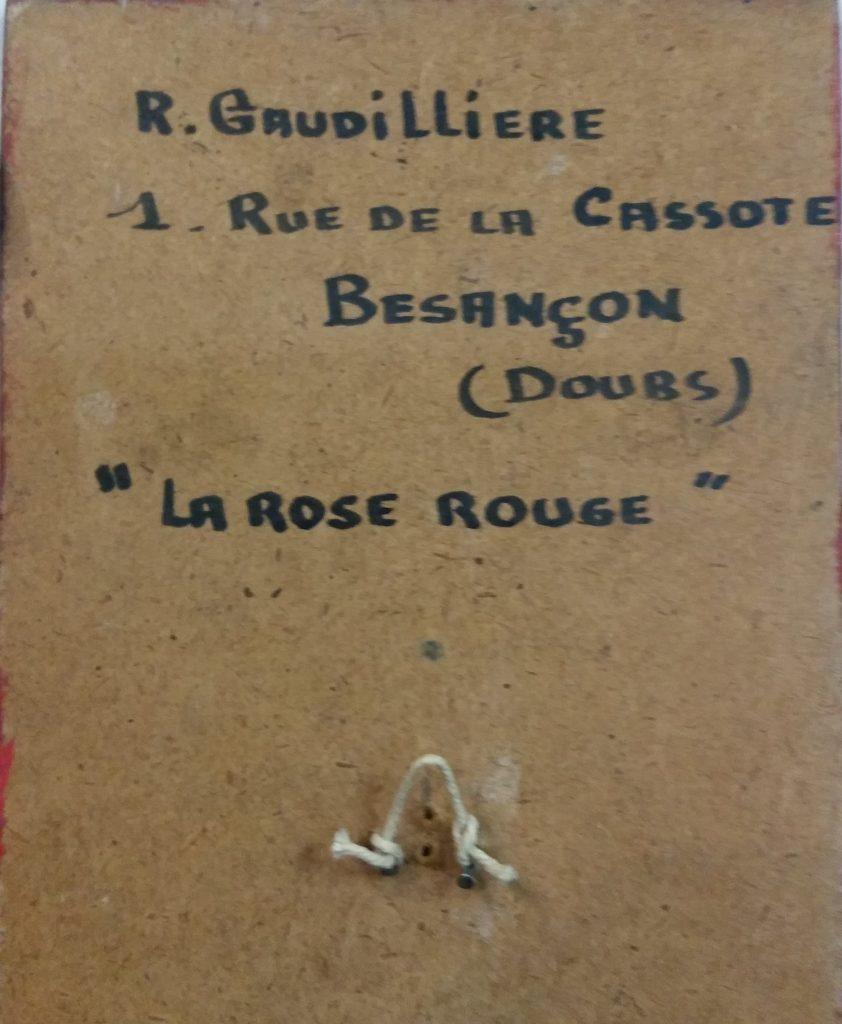 1960 la rose rouge n°5 verso, retour peint en rouge