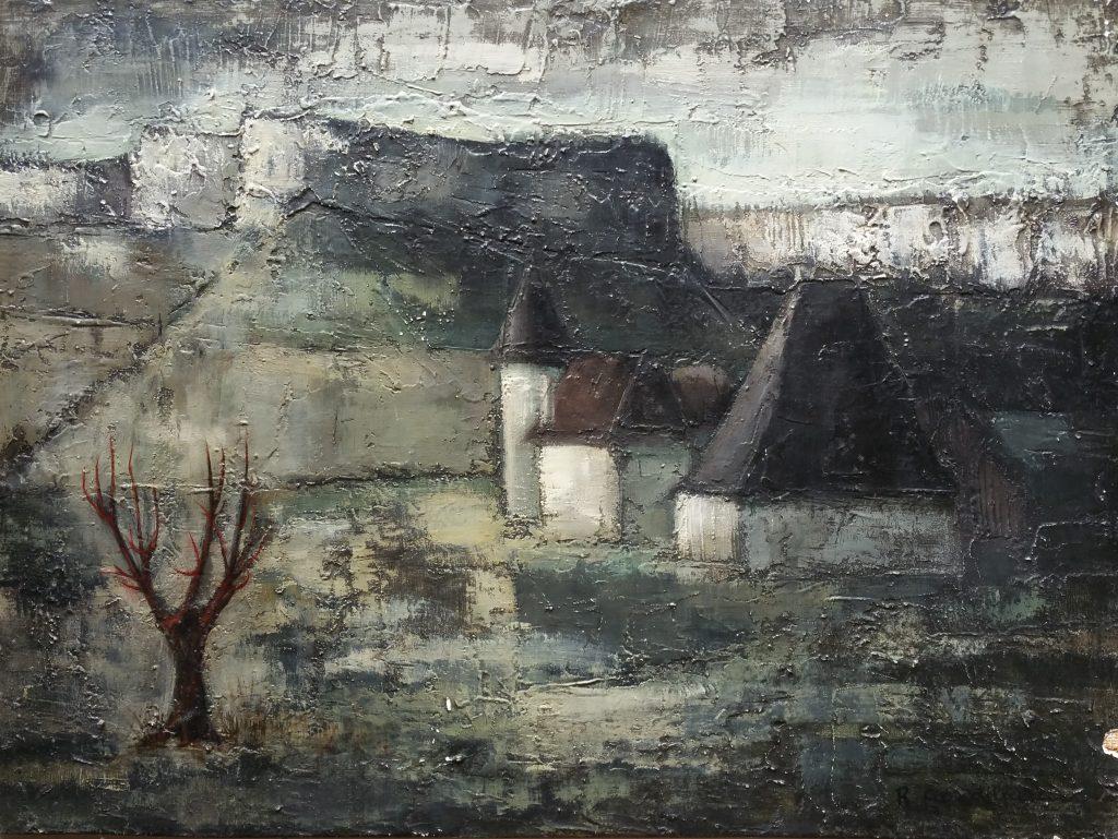 1960 village dans la vallée 20P 0,54-0,73 panneau bois