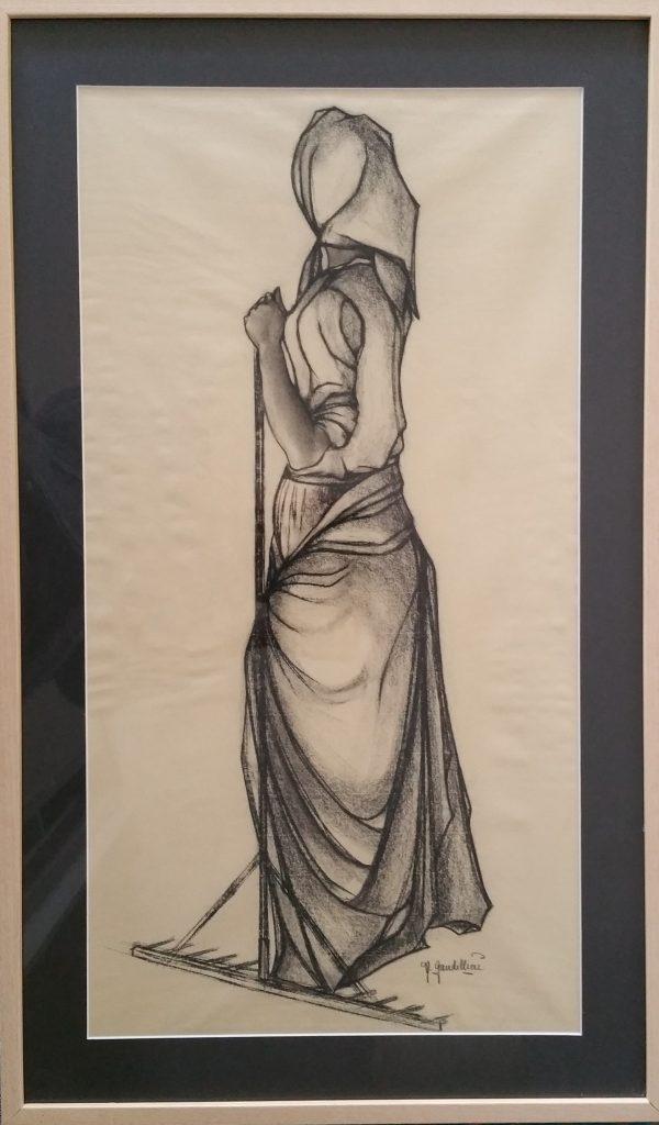 1970 femme au rateau fusain