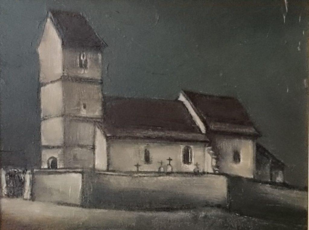 1980 l'église HF1 0,14-0,18 isorel,non signé,dédicacé au dos (2)