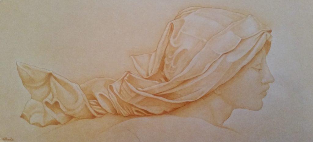 1993-20 la jeune femme au voile blanc,hommage à J.Burns HF15 0,27-0,81 isorel