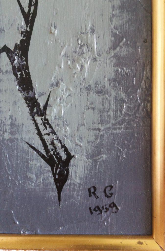 1959 rose,signé R.G.