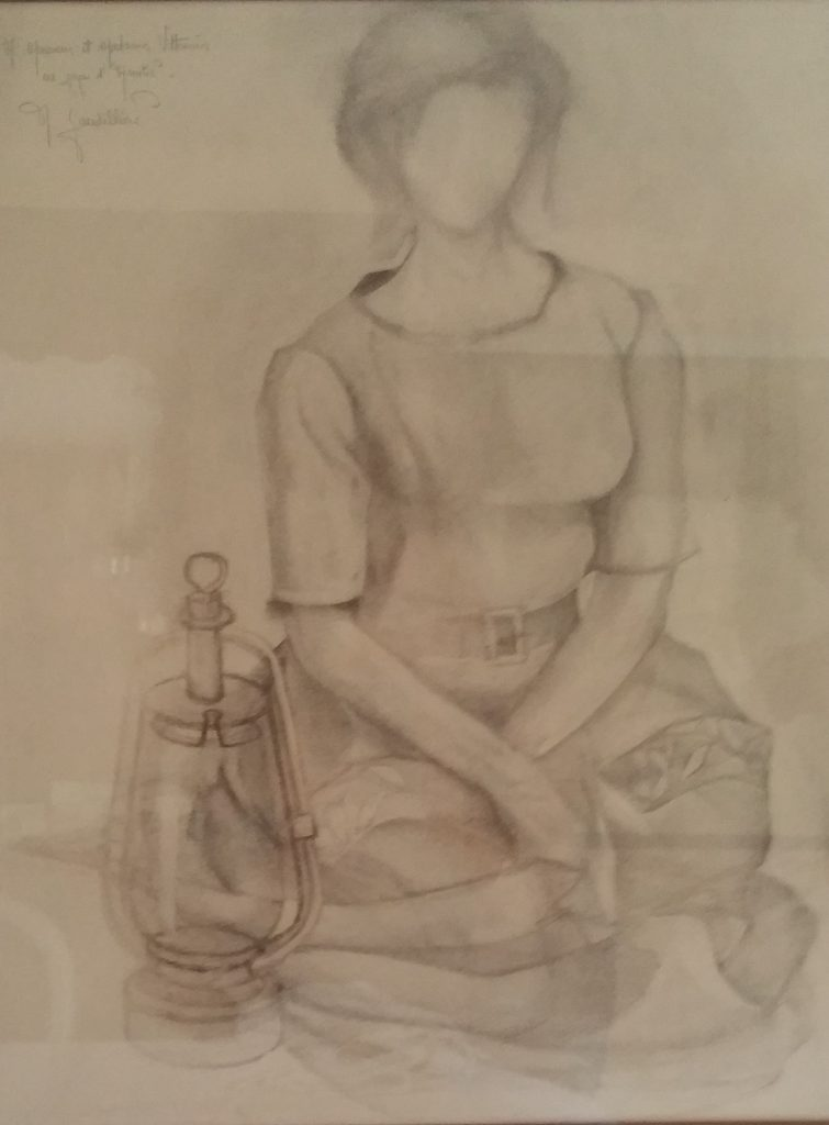 1963 jeune fille assise 15P 0,65-0,50 dessin