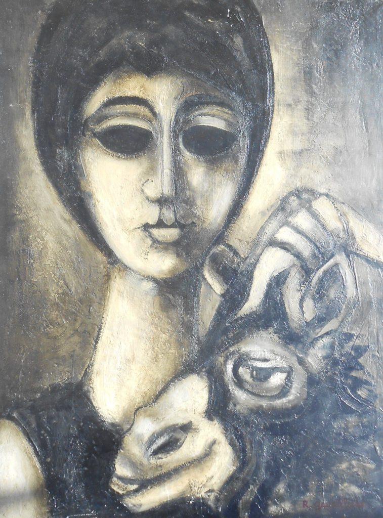 1963 jeune femme à la chèvre 12P