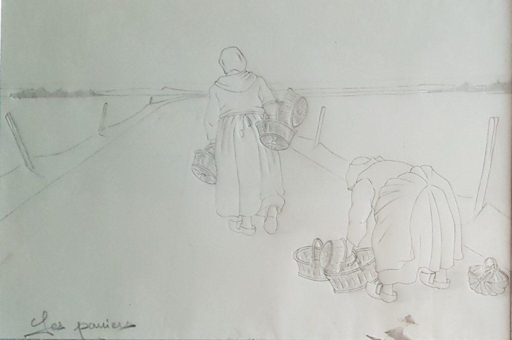 1996 les paniers 0,20-0,30 étude dessin sur calque