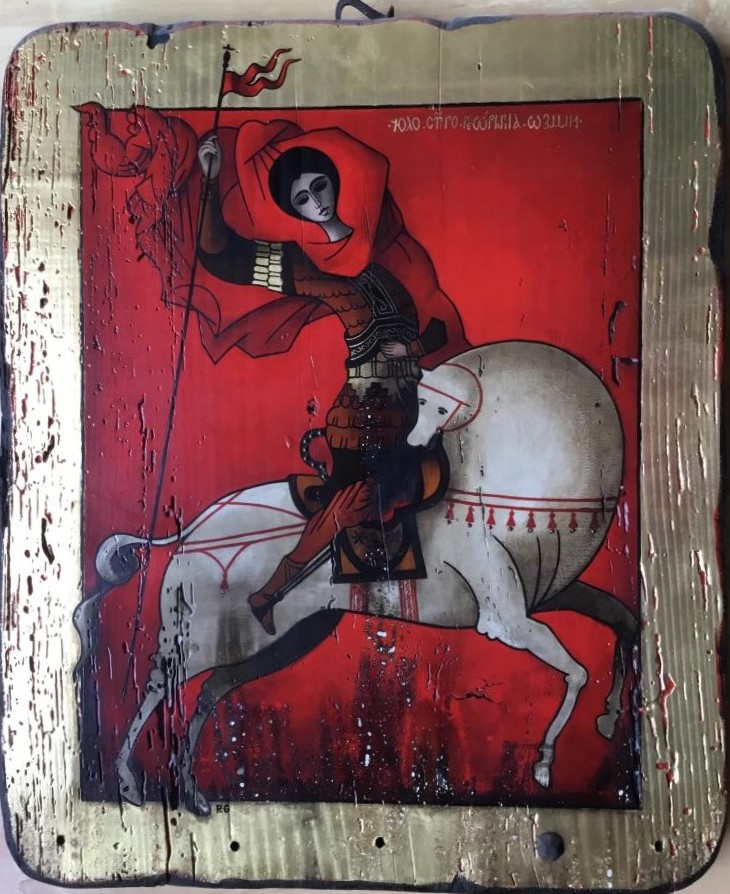 saint-georges icône 0,60-0,50 panneau bois