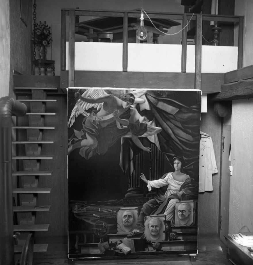 1966 bouquet d'automne HF25 Tôle découpée et peinte,posée en haut de l'escalier sur une chaise, atelier rue de la Préfecture Bernard Faille Site Mémoire Vive
