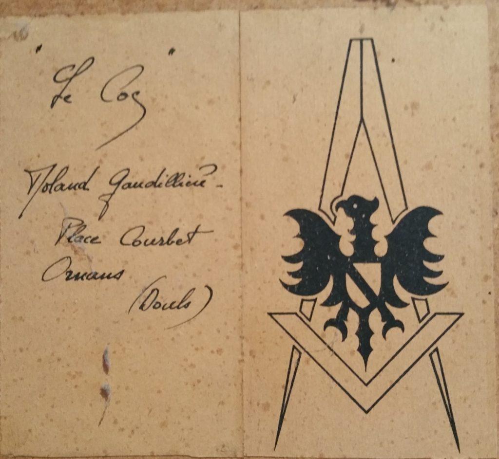 1950 le coq 0,90-0,40 toile sur isorel roland gaudillière verso