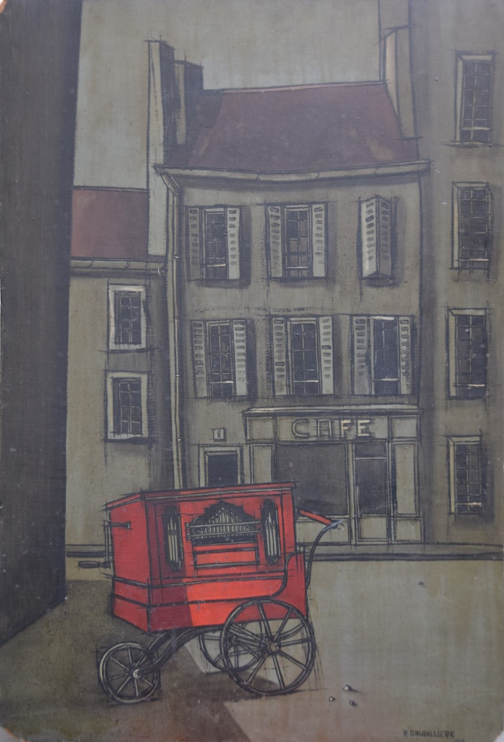 1955 l'orgue de barbarie 0,72-0,50 isorel,signé Roland Gaudillière