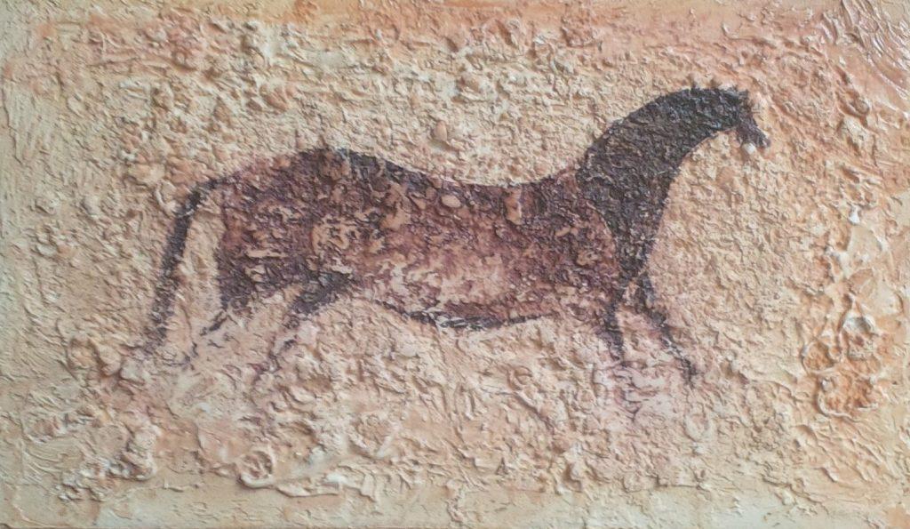 1959 le cheval chinois 4F 0,12-0,20 plâtre sur isorel isorel