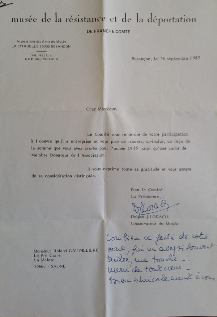 1985 musée de la déportation,courrier madame Lorach