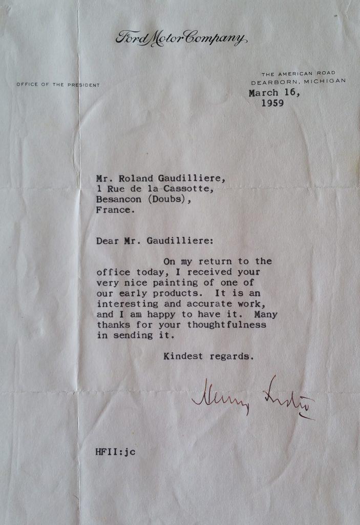 6-1959 lettre de Ford