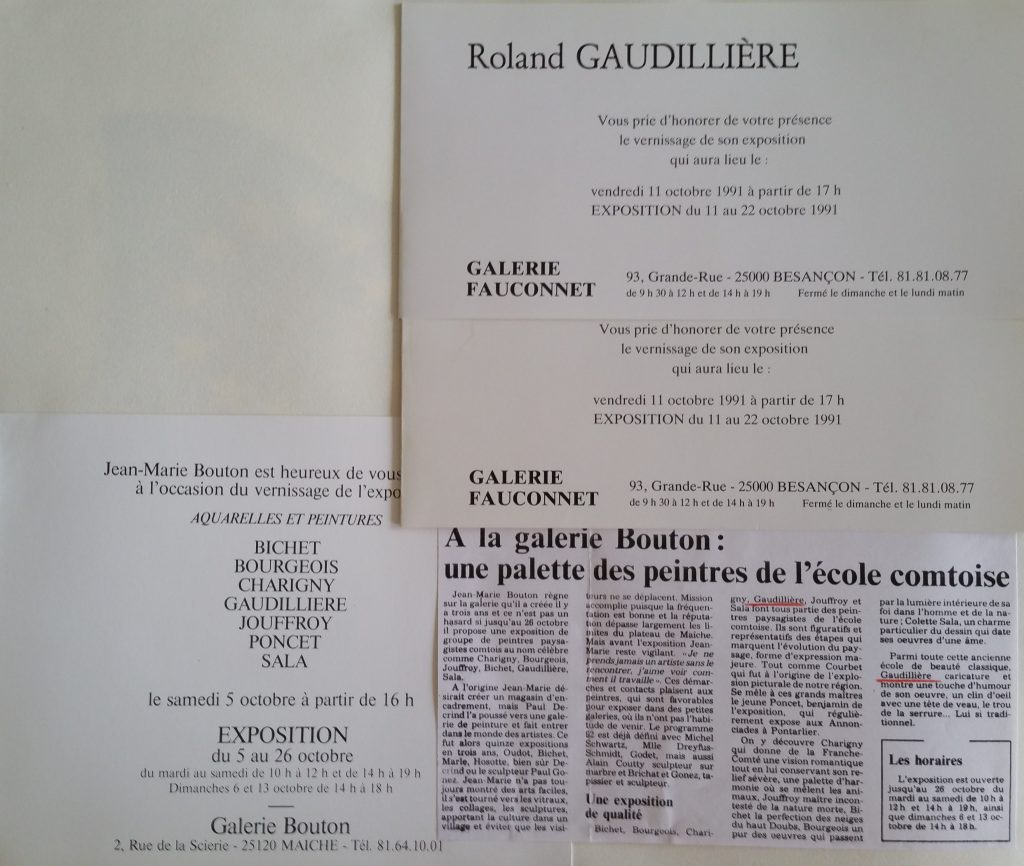 93-1991 expo gal.Fauconnet et expo groupée gal.Bouton à Maiche