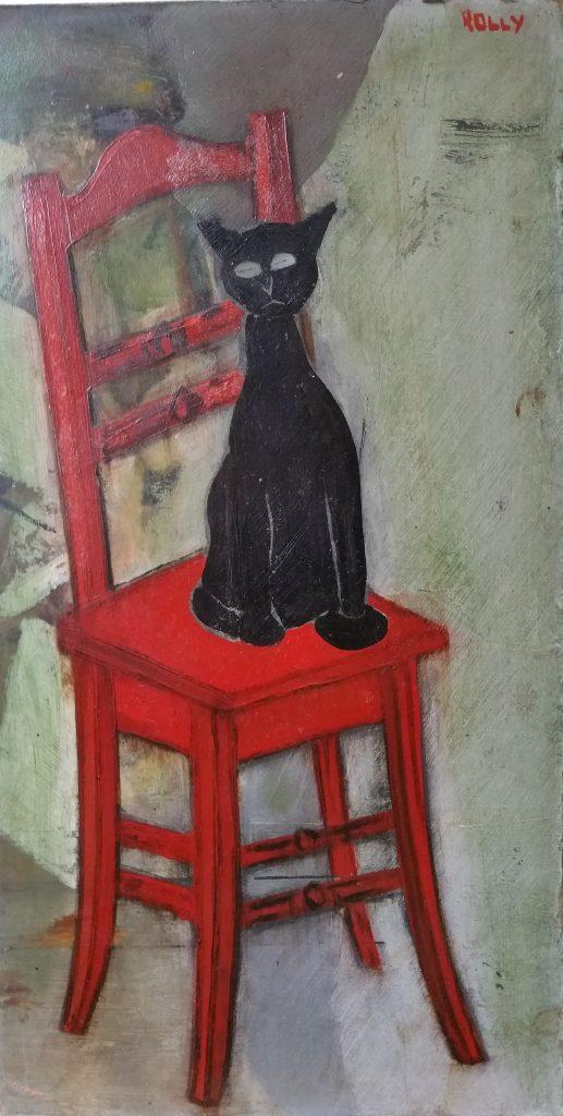 1950 le chat noir 0,40-0,21 isorel signé Rolly