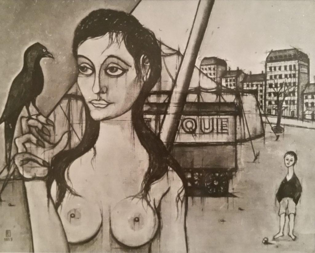 1955-9 la jeune femme au corbeau