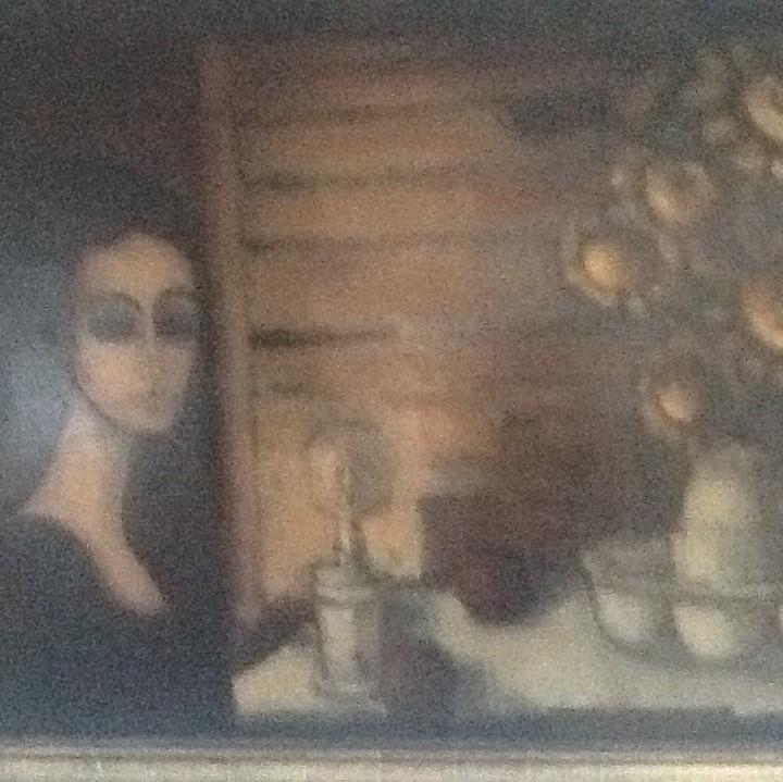 1960 la femme à la lampe et bouquet 0,92-1,42 isorel