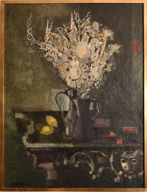 1960 le bouquet à la console ou nature morte 50F 1,15-0,88 isorel