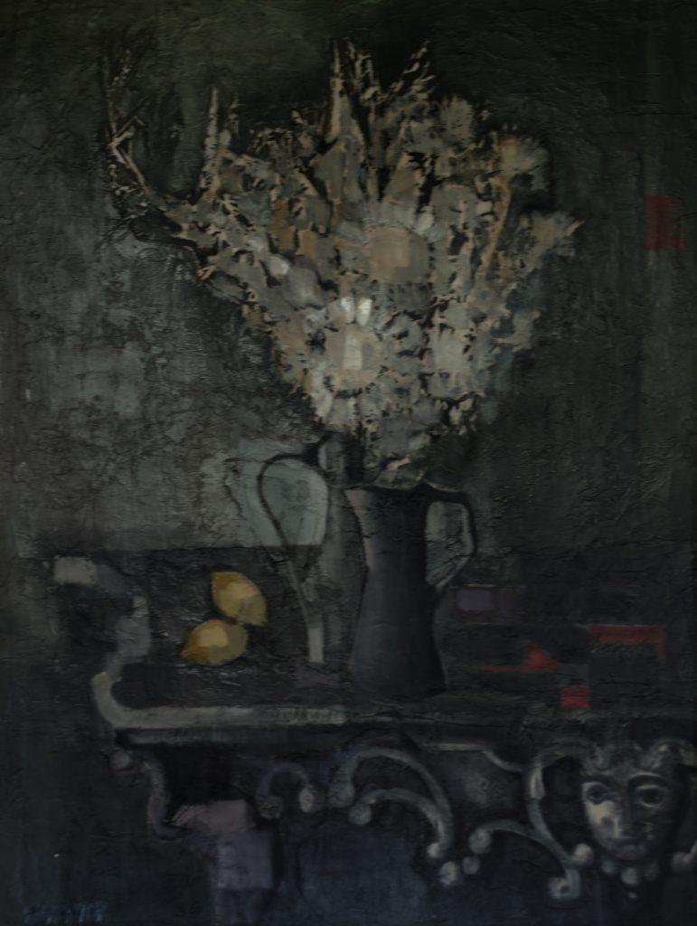 1960 le bouquet à la console ou nature morte