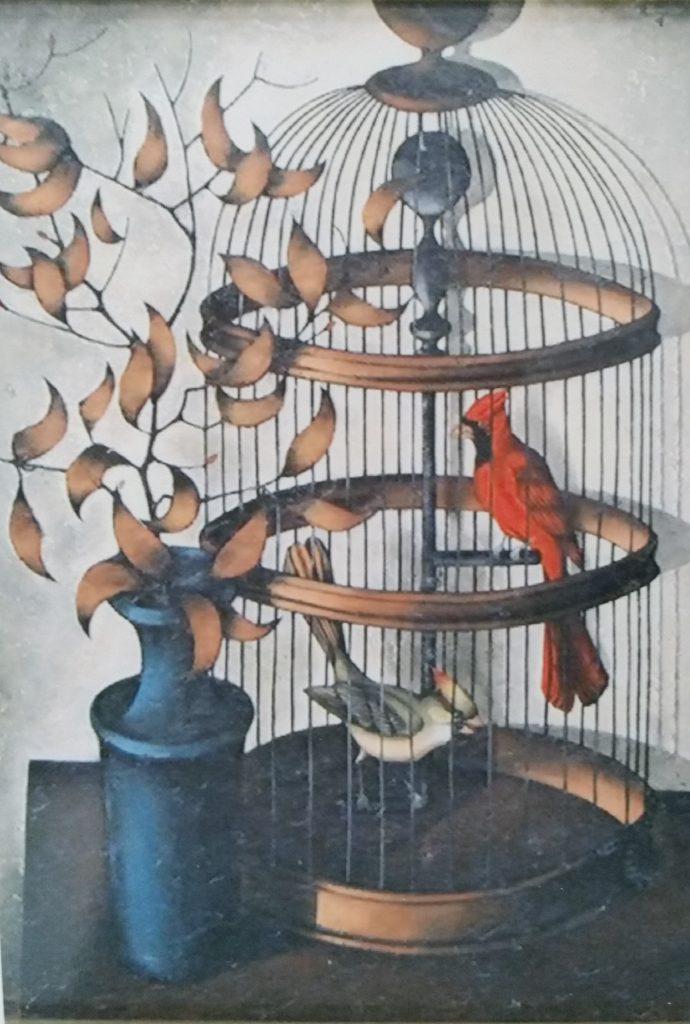 1962 cage,oiseau rouge,vase bleu isorel (3)