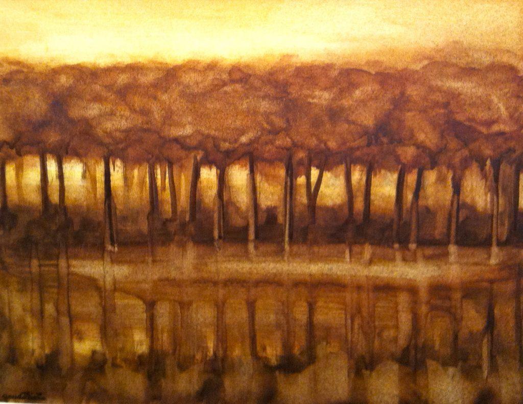 1974 reflets- les arbres 6F  0,31-0,40 huile sur papier