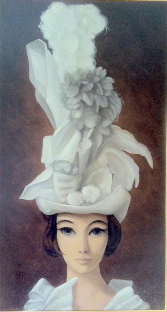 1978 la jeune femme au chapeau blanc ou le rêve HF25 0,95-0,52 isorel