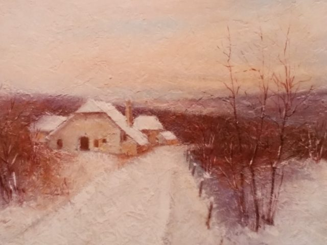 Ferme sous la neige