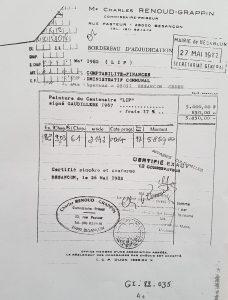 1982 facture du tableau Lip acquis par le Musée du Temps