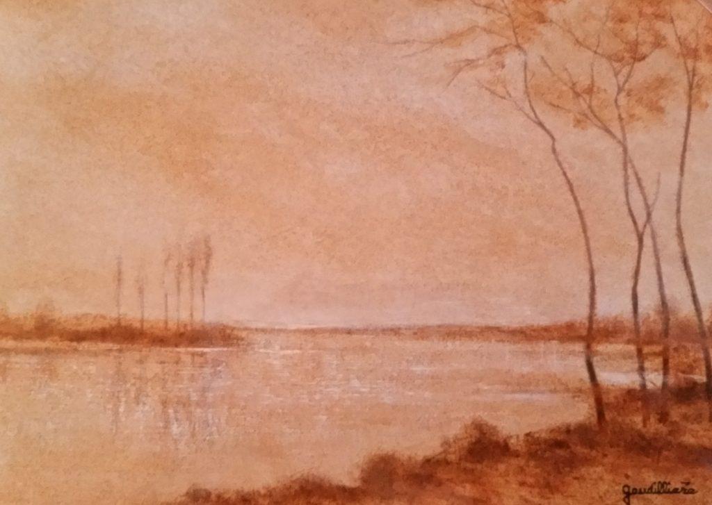 1989-10 les arbres du bord de l'eau-crépuscule 3P 0,19-0,27 isorel