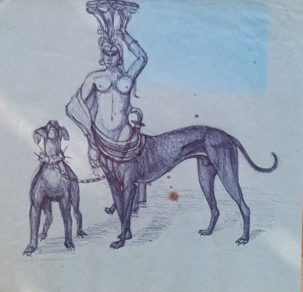 1954-la-gorgonefemme-chien-023-023-dessin-ecole-des-beaux-arts-paris-non-signe