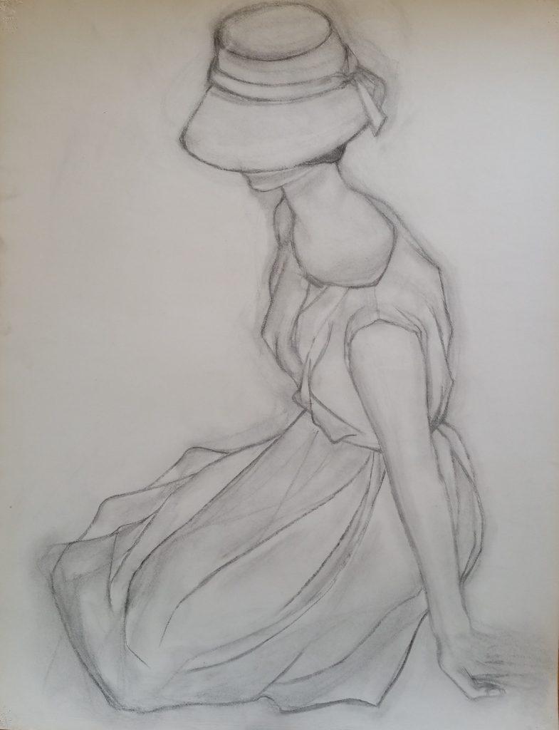 1951 femme au chapeau 0,65-0,50 étude,dessin fusain,école des Beaux Arts Besançon