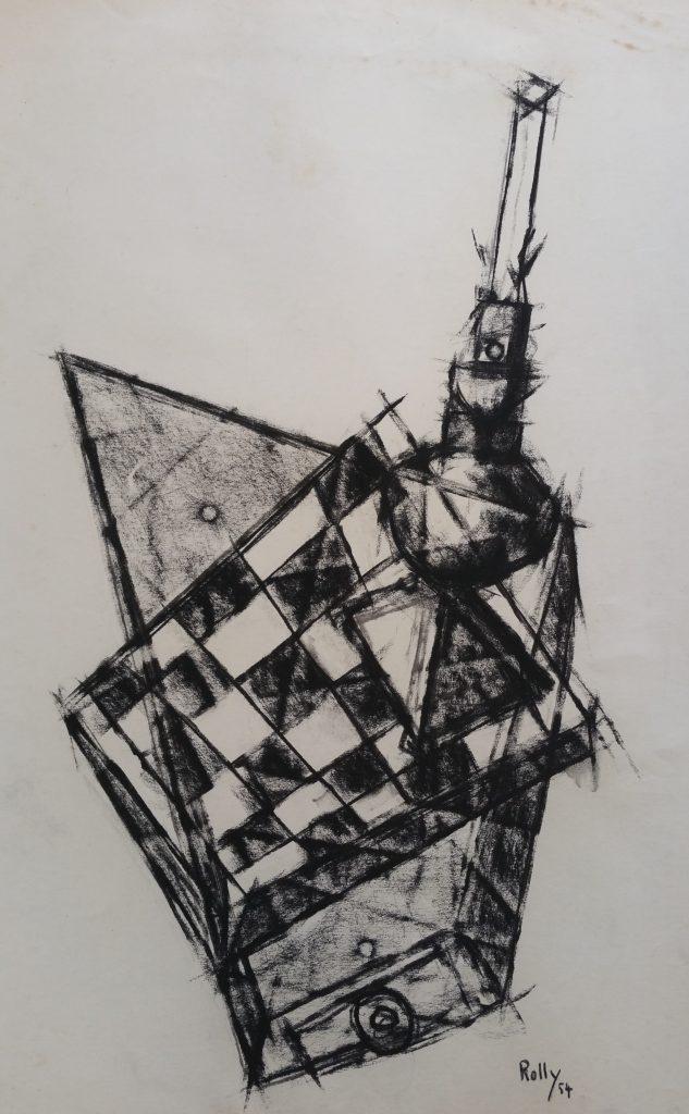 1954 damier 0,65-0,50 étude dessin,Arts Décoratifs Paris,signé Rolly 54