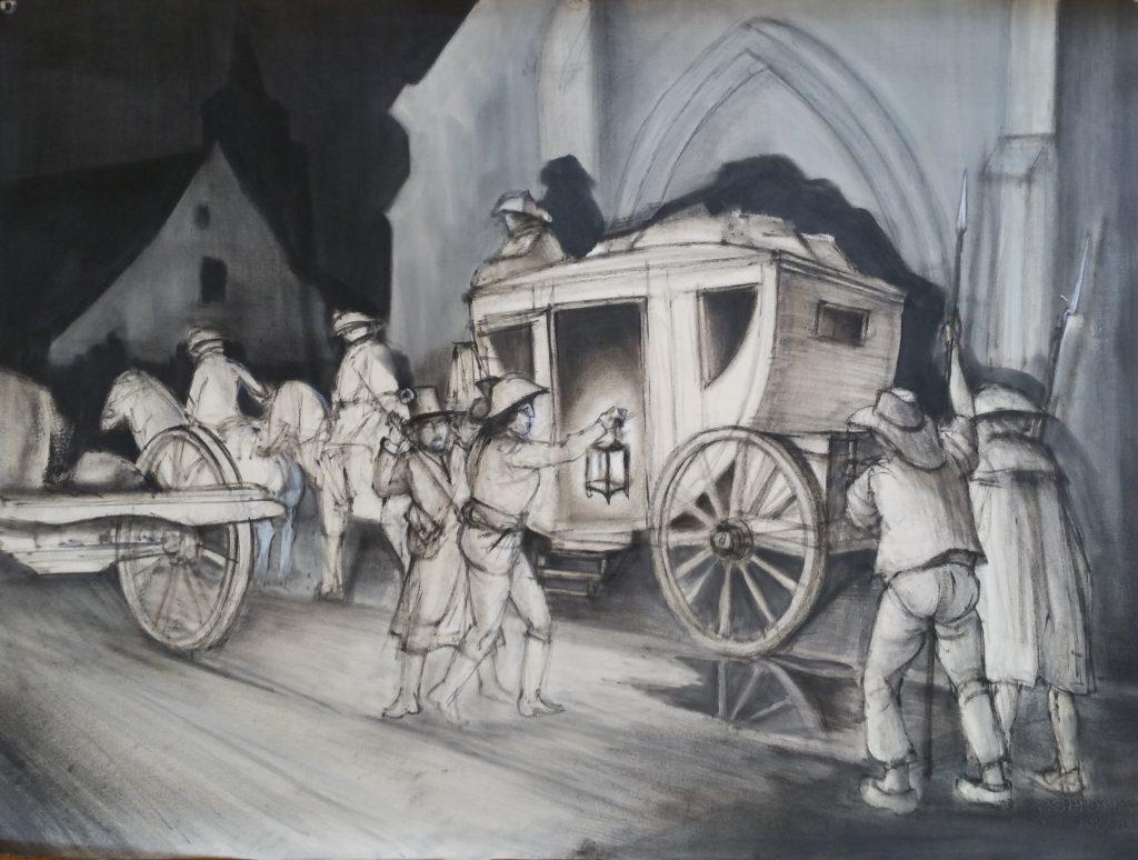 1954 le carrosse 0,57-0,76 dessin fusain, Arts Décoratifs Paris