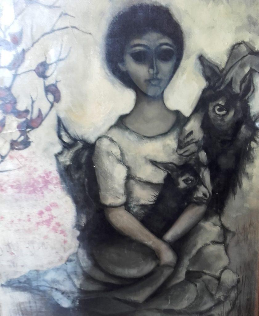 1962 la jeune fille ou femme aux chévres 30F 0,91-0,73 toile (2)photo pour la Une