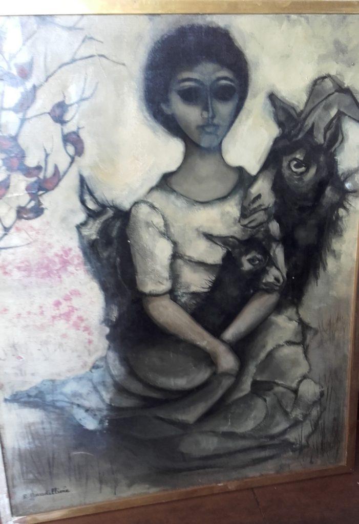 1962 la jeune fille ou femme aux chévres 30F 0,91-0,73 toile