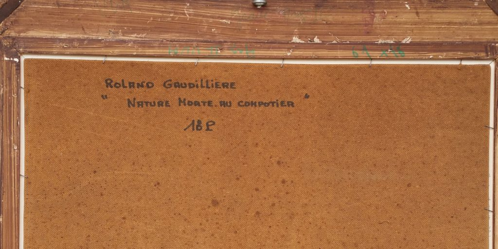 1966 nature morte au compotier verso