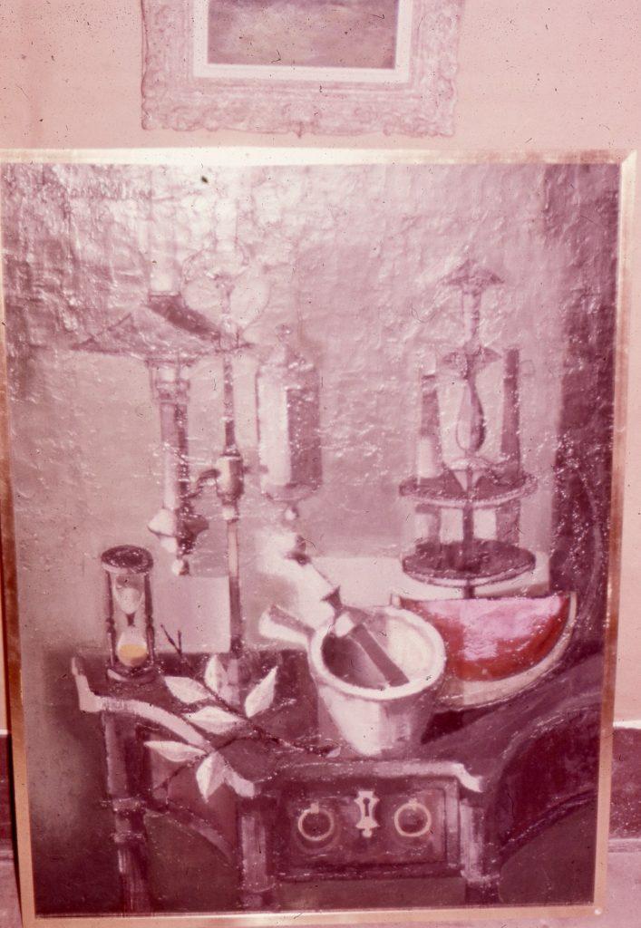1960 nature morte à la pastéque et au mortier,diapo,50F 1,16-0,81 isorel