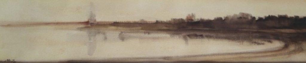1974 la rivière HF4 0,13-0,61 huile sur papier