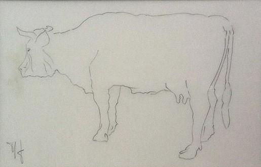1991 vache étude papier calque